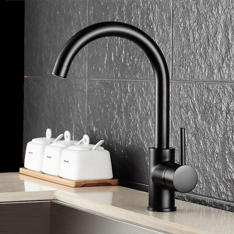 Brewst Gooseneck Single Lever 1-Hole Solid Black Kitchen Faucet ...