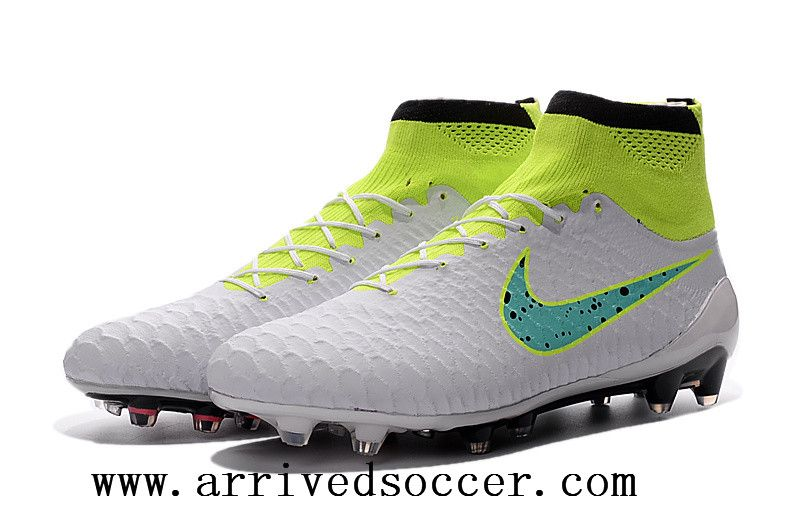 purchase cheap 290f3 991c5 ... Nike Magista Obra FG with ACC White and green high-top TPU nail soccer  cleats ...