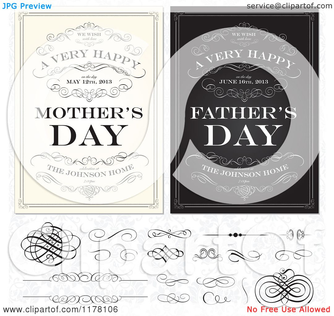 Clipart-Of-Vintage-Happy-Mothers-And-Fathers-Day-Greetings-With-Sample-Text-Swirls-And-Design-Elements-Over-A-Floral-Pattern-Royalty-Free-Vector-Illustration-10241178106.jpg (1080×1024)