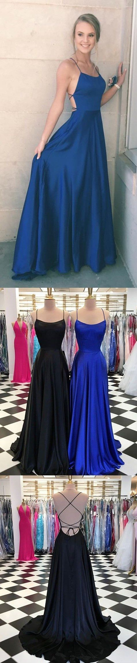 straps navy blue long prom dress simple long prom dress party