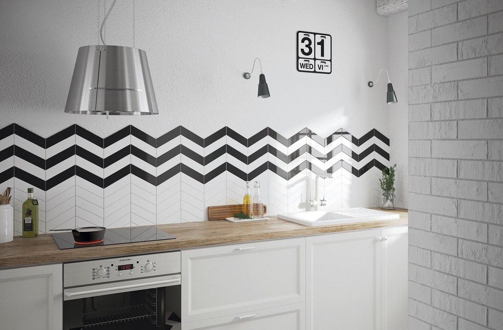 Funky black and white kitchen backsplash with Chevronwall tile ...