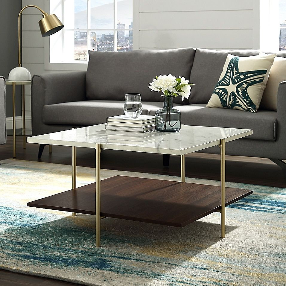 Forest Gate 32 Giselle Modern Square Coffee Table In Faux Marble Gold Multi Coffee Table Square Marble Tables Living Room Marble Coffee Table Living Room [ 956 x 956 Pixel ]