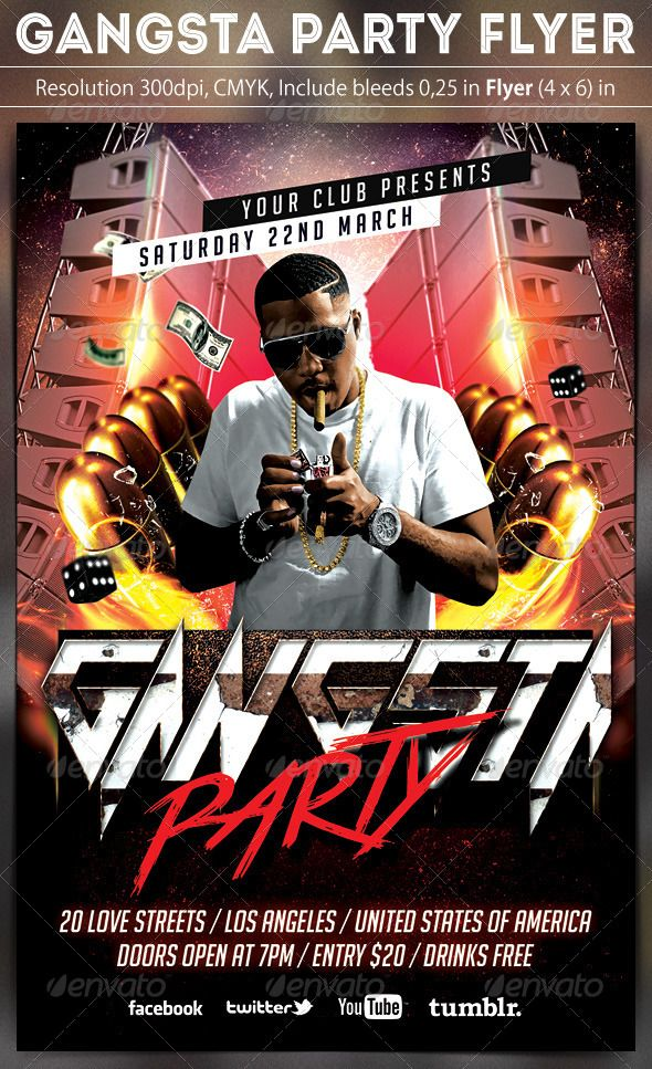 Gangsta Party Flyer  Party Flyer Font Logo And Flyer Template