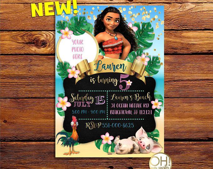 Moana Invitation Card Moana Chalkboard Party Disney Moana