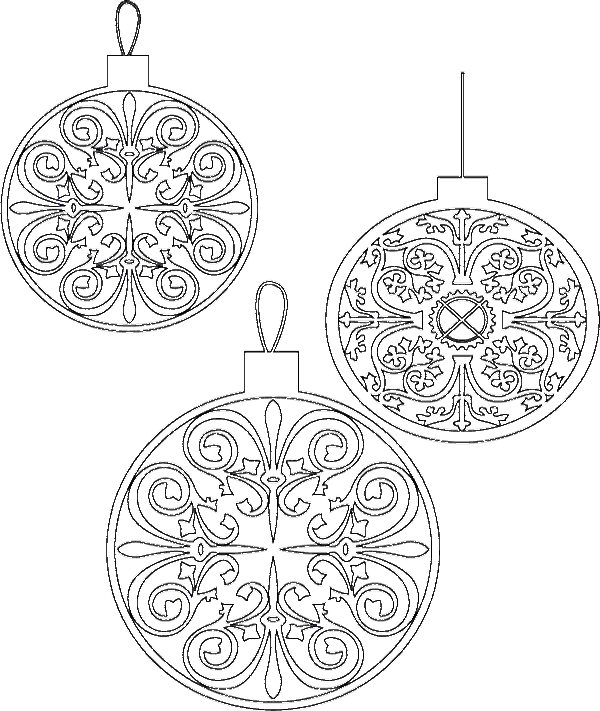 Three Interesting Chritsmas Ornament And Unique Coloring Page ...