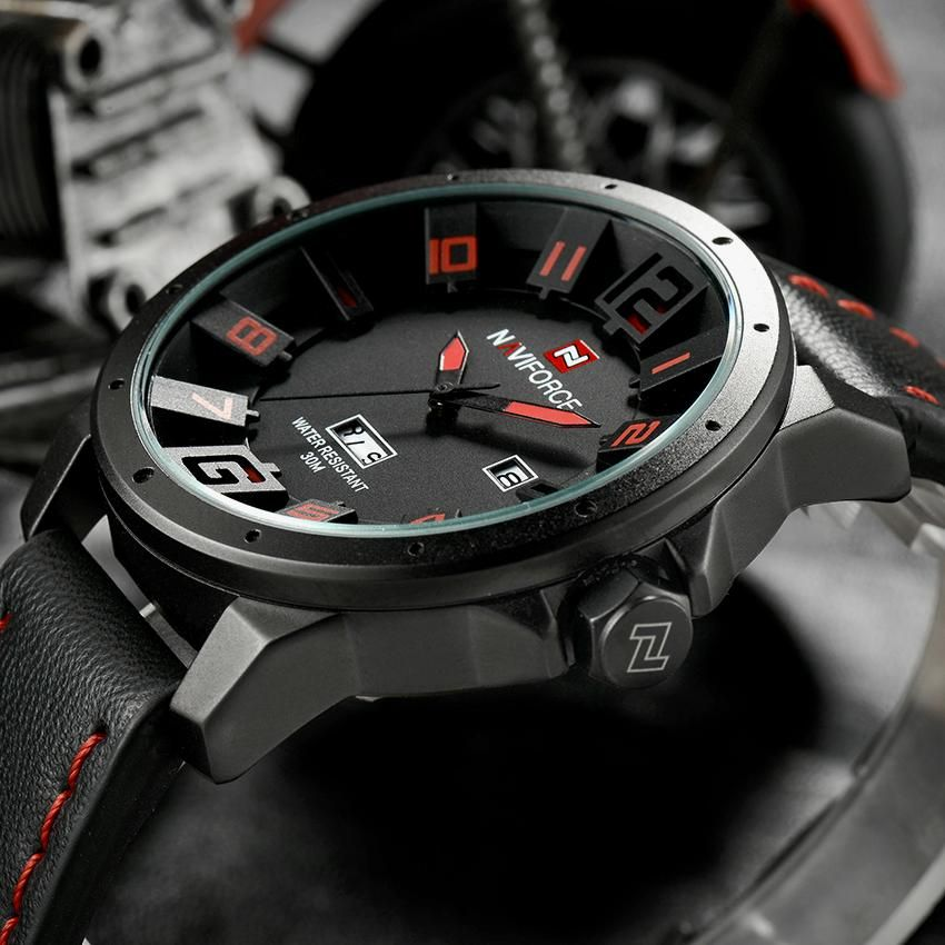d72ee0491 NAVIFORCE Luxury Brand Military Watches Men Quartz Analog 3D Face Leather  Clock Man Sports Watches Army Watch Relogios Masculino That`s just superb!