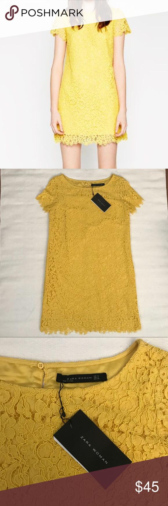 967a62baf75ae7 NWT ZARA YELLOW LACE DRESS New with Tags Sunny yellow Zara women's  Beautiful lace Perfect Easter Dress Zara Dresses