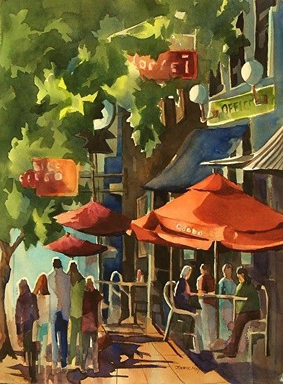"""Downtown Morristown, NJ by Jinnie May Watercolor ~ 30"""" x 22"""""""