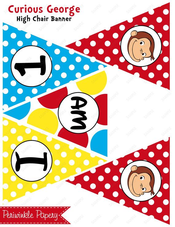 Instant Download Curious George Yellow Red Blue I Am 1 2 3