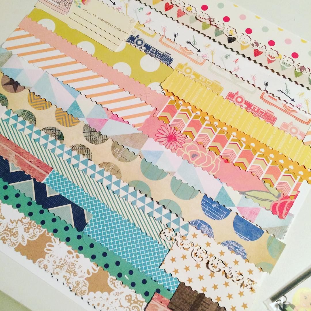 STRIPS OF PRINTED PAPER EMBELLISHMENT INSPIRATION - I was inspired by @vbissell to #scrapmystash and used a punch that had been neglected.. Love how it turned out, not completed yet but so pretty! #scrapbooking