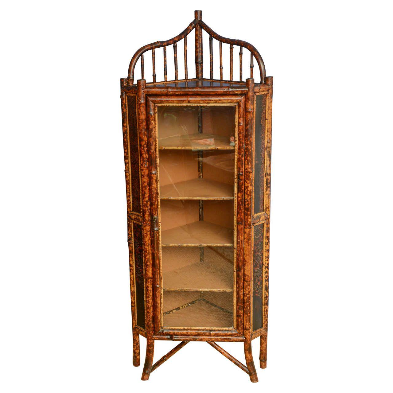19th Century English Bamboo Corner Cabinet