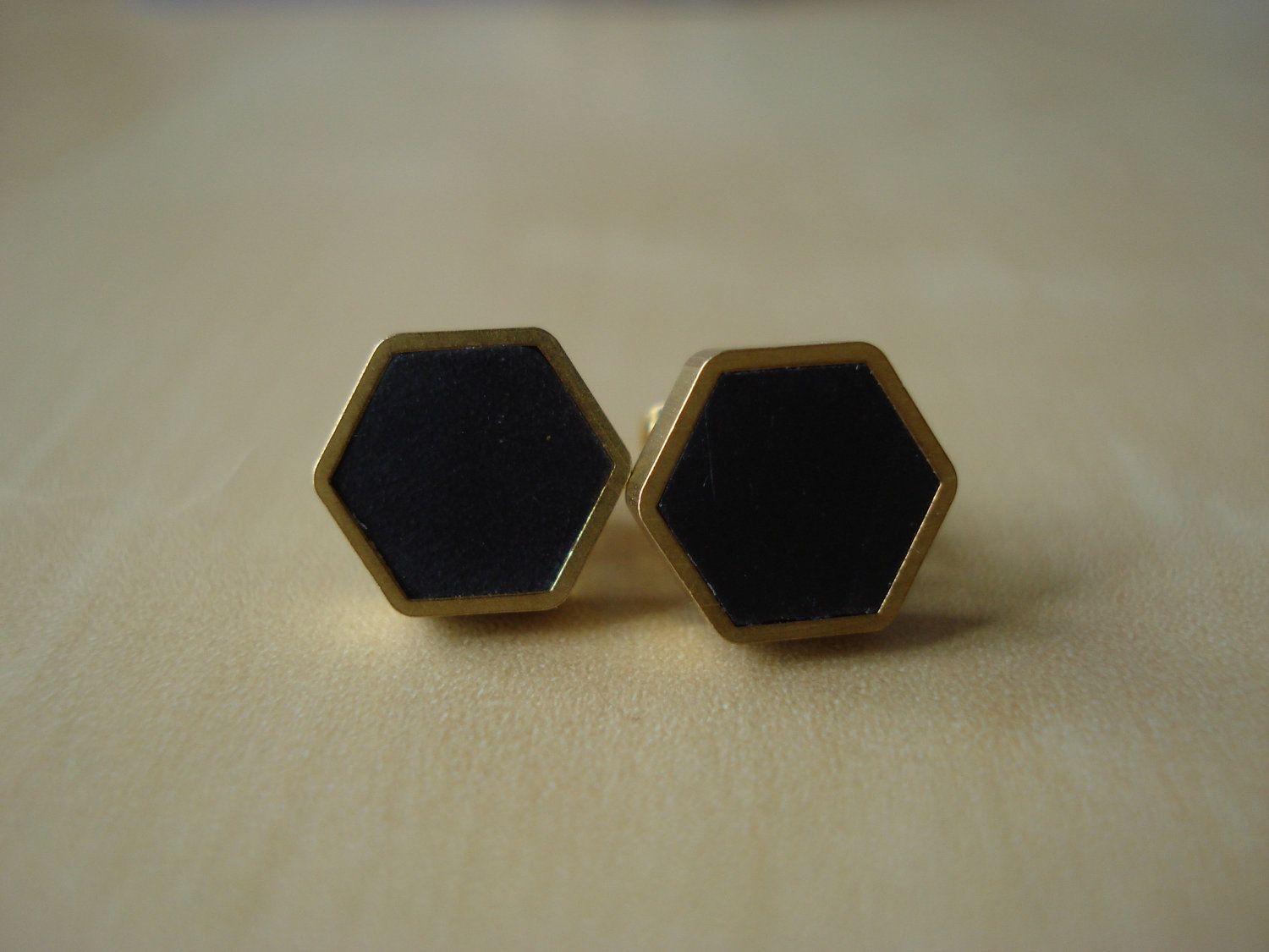 09a0b613b Black small brass hexagon stud earrings | Jewelry | Earrings, Stud ...