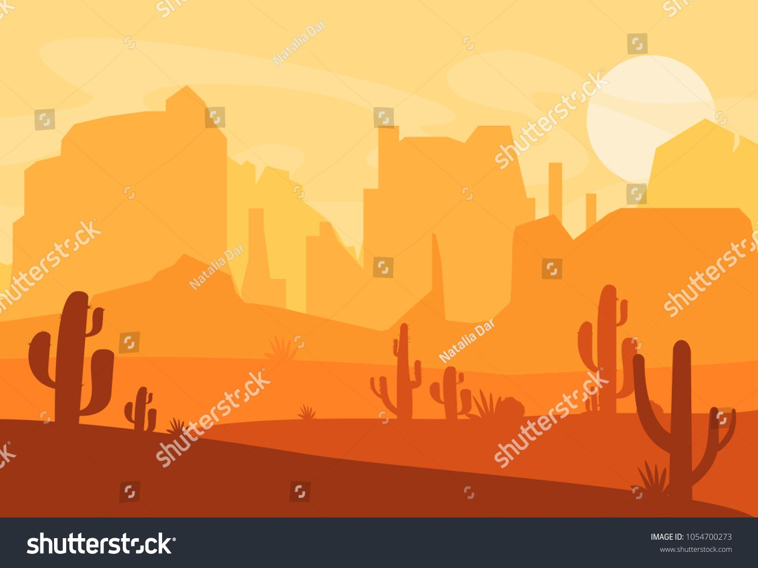 vector illustration of western texas desert silhouette. wild west america  scene with sunset in desert with mou… | cartoon styles, vector  illustration, cute drawings  pinterest