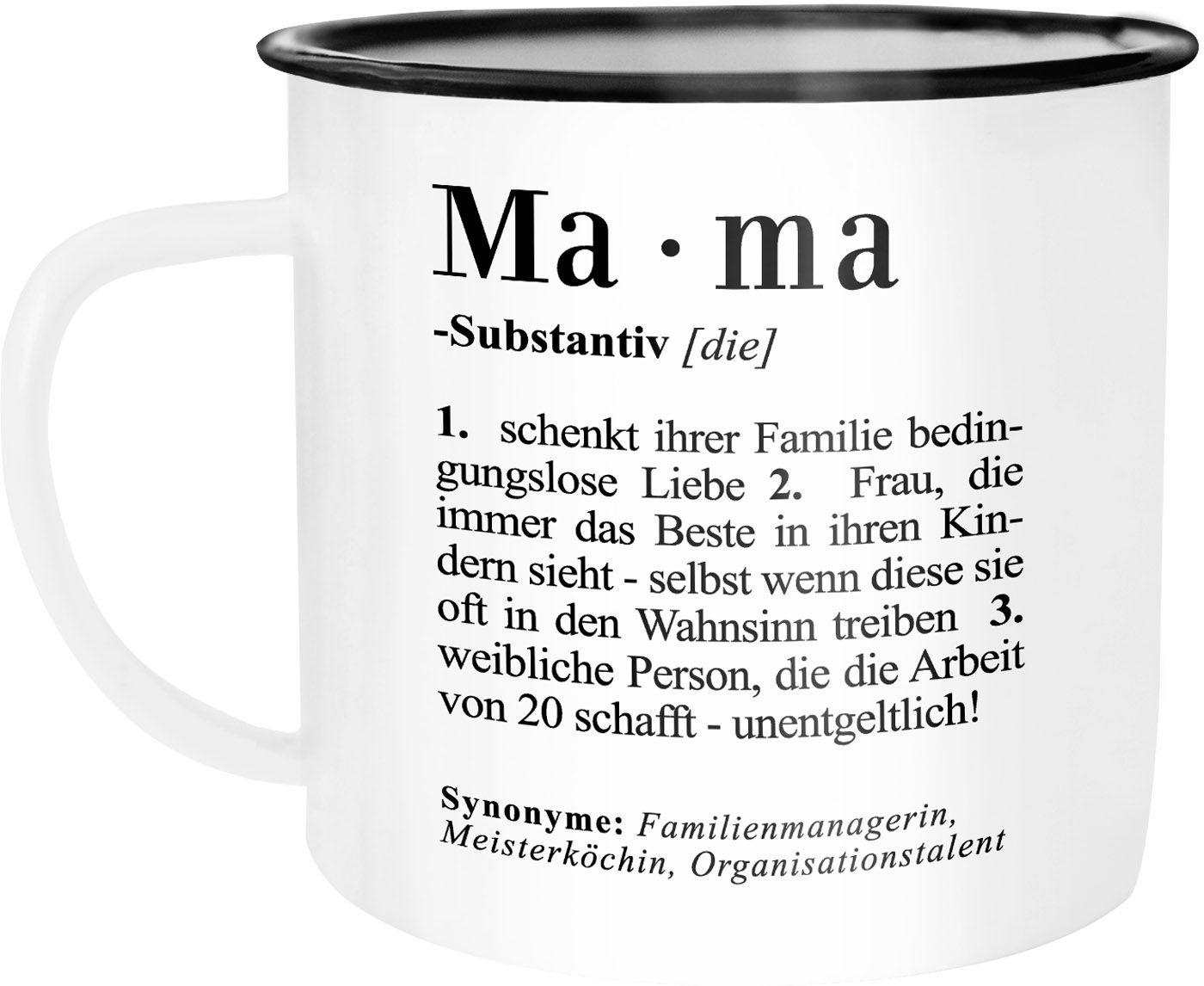 Weihnachten Duden.Emaille Tasse Becher Mama Definition Dictionary Wörterbuch Duden