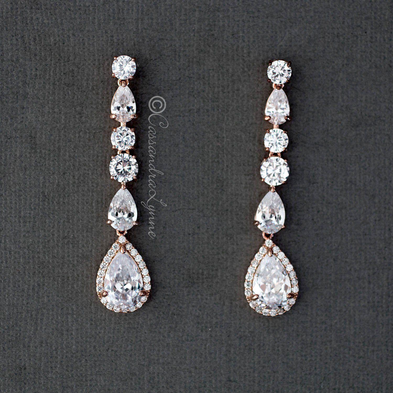Long Drop Post Earring Round Moissanite Earrings Bridal Wedding Prom Bridesmaid Earrings Statement Earrings Drop Dangle Diamond Earrings
