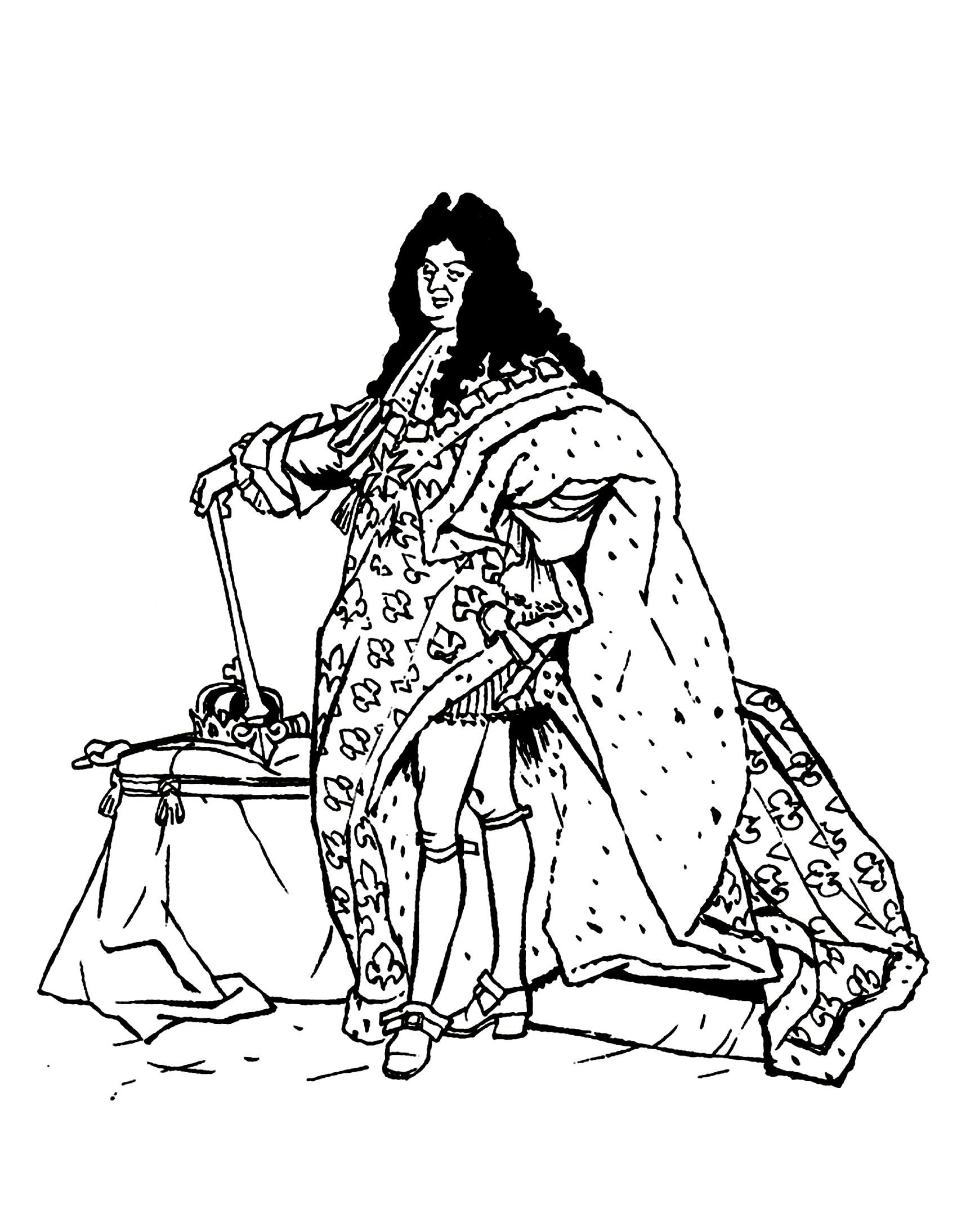Free coloring page coloring-louis-14-sun-king. Louis XIV of France ...