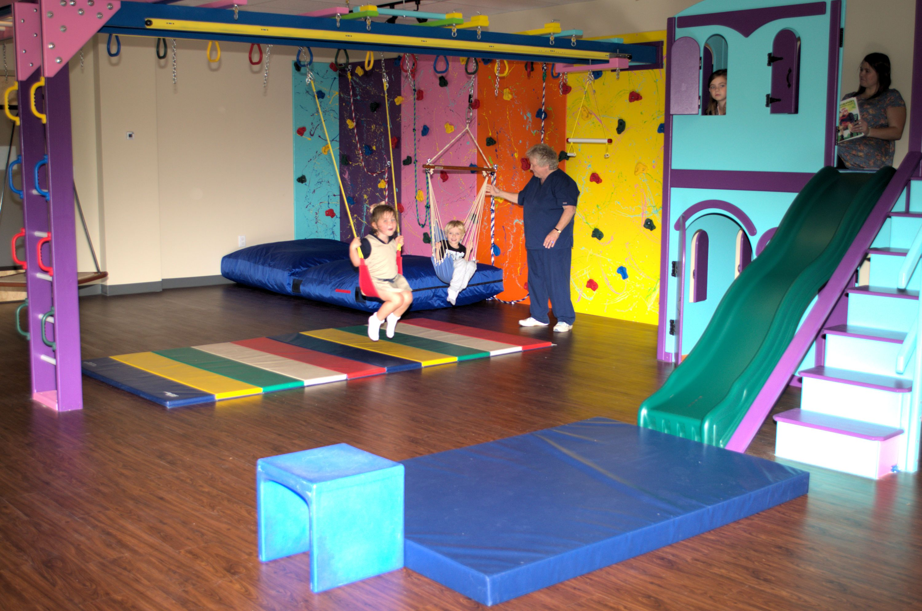 Stefanie Willard With Helping Hands Pediatric Therapy In Buford Georgia Has Taken The Next Step In Providing Her Children Low Ceiling Basement Gym At Home Gym