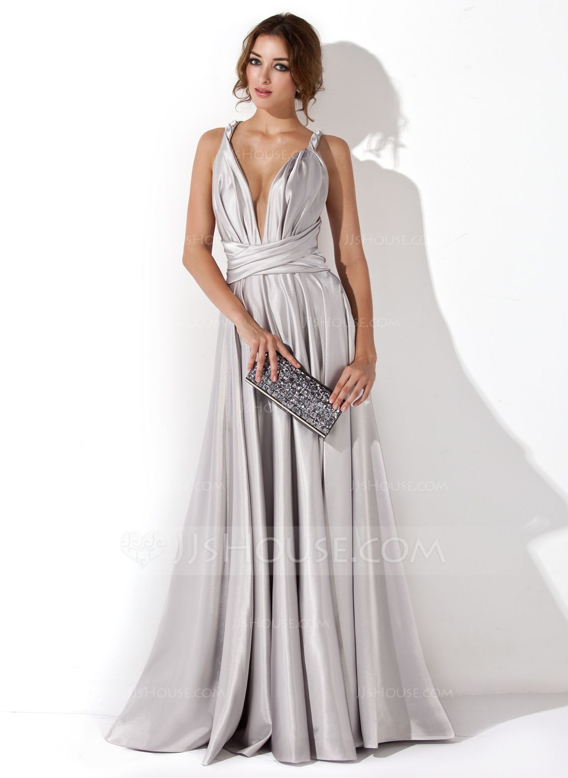 A-Line Princess V-neck Floor-Length Charmeuse Evening Dress With Ruffle  (017020657) - JJsHouse 547eaa1eedc5