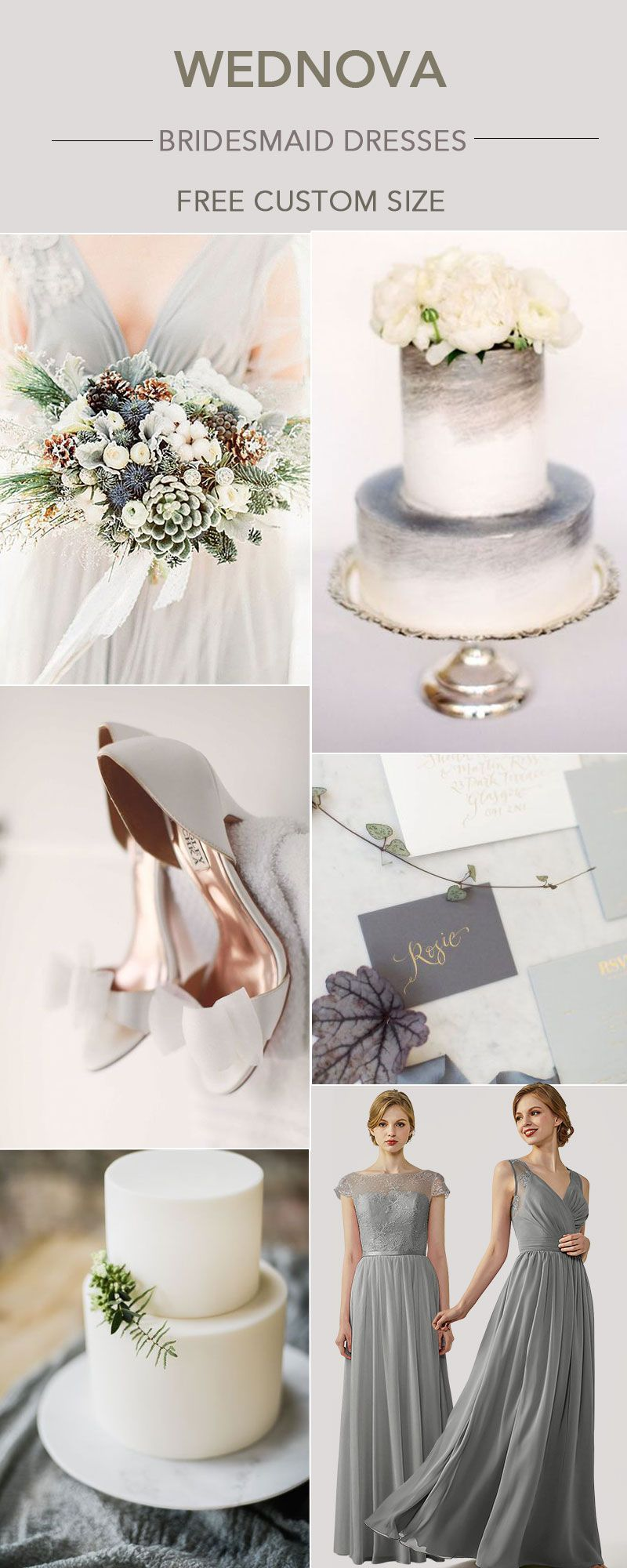 Lace dress gray  Beautiful chiffon bridesmaid dress gray cap sleeves dress with lace