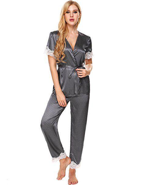 e2da12b655 Ekouaer Schlafanzug damen satin Spitze Pyjama set Morgenmantel kurz schwarz  rot blau: - pyjama pyjamas