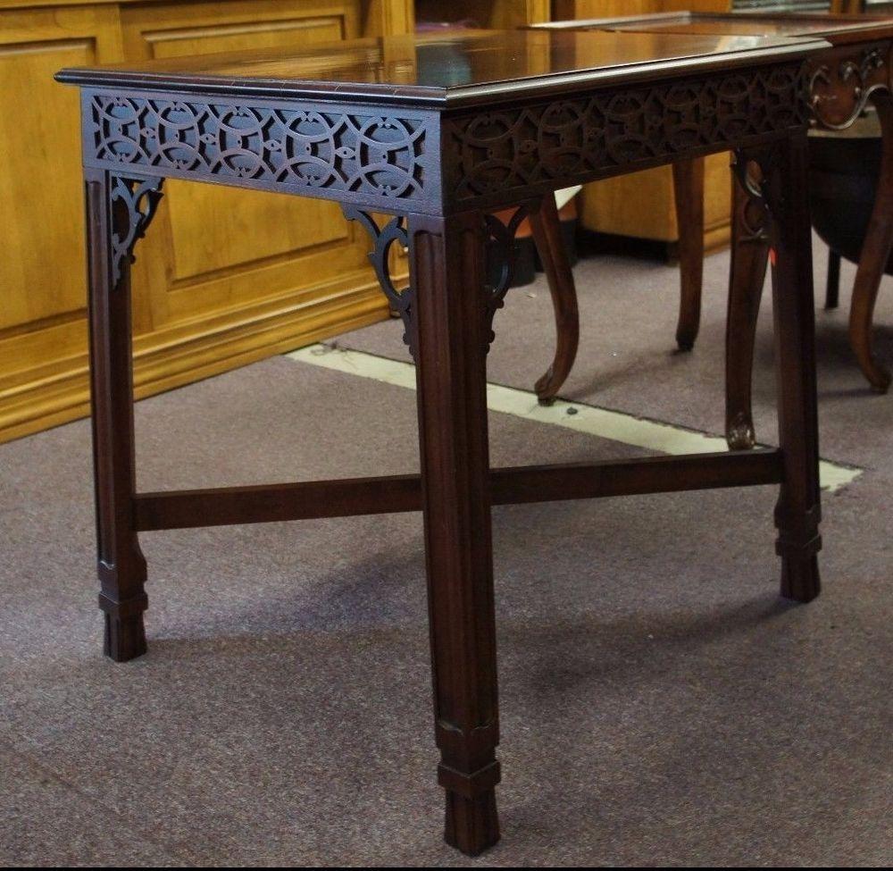 Hickory Chair Company Falmed Mahogany Accent Table Carved Fretwork