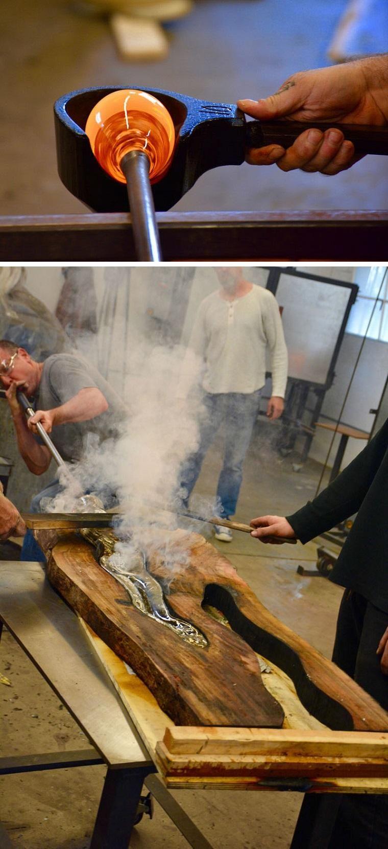 Skulpturen aus Holz und geschmolzenem Glas für eine zeitgenössische ...