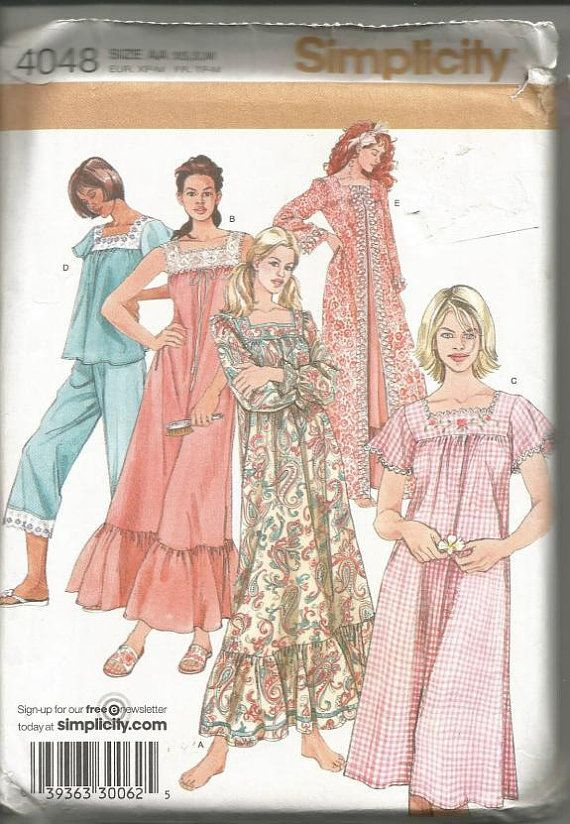 2f54d07654 Misses  Nightgown in Two Lengths Ruffles Robe Pajamas Simplicity 4048 Uncut  FF Size XS