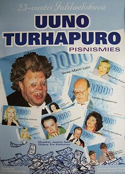 Johtaja Uuno Turhapuro pisnismies 1998 juliste.