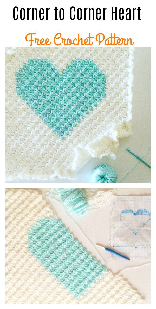 Corner to Corner Heart Blanket Free Crochet Pattern | BEBES/NIÑOS ...