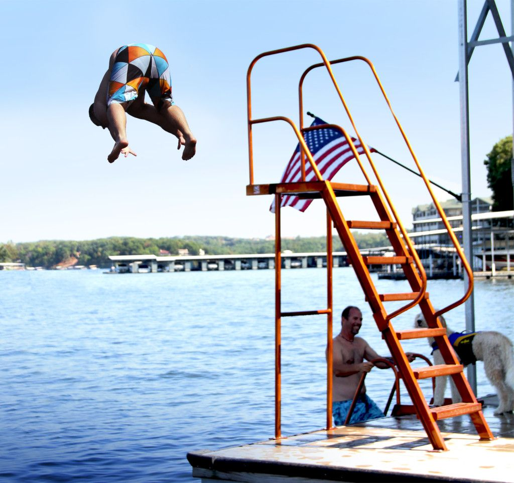Ez High Dive Wet Steps Dock Accessories Ladders Made At The Lake Of The Ozarks In 2020 Lake Dock Dock Accessories Lake Fun