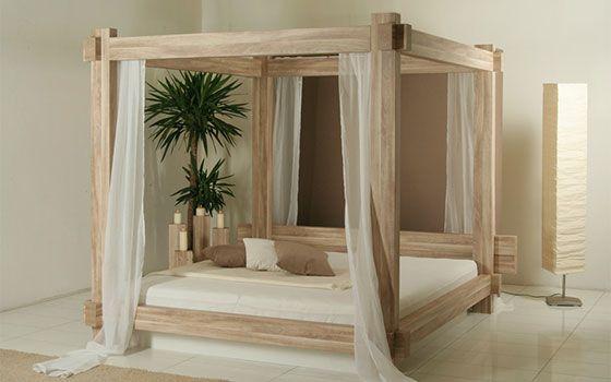 Wasserbett himmelbett in eiche grau beige lovely furniture bedroom bed bedroom bed - Himmelbett diy ...