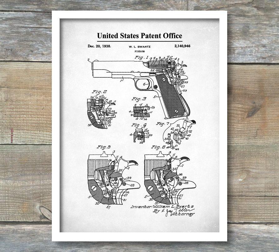 Colt Firing Pin Safety Patent, Patent Print, Wall Decor, Gun Art - new blueprint gun art