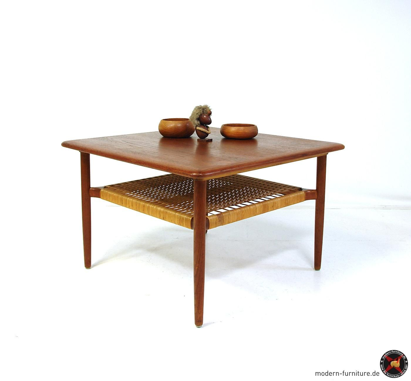 Areaneo Danish Modern Square Teak And Wicker Coffe Table 1950 59 No 214 [ 1297 x 1400 Pixel ]