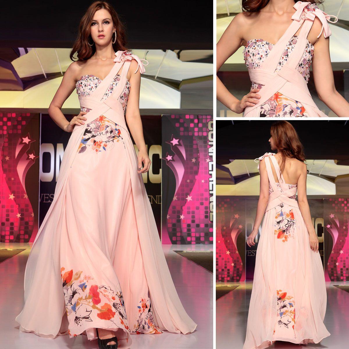 Pink floorlength one shoulder aline formal evening dress lastest