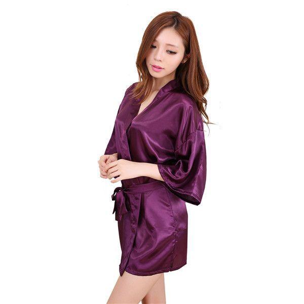 99c2e8a5581 Hot Sale Blue Lady Sexy Mini Kimono Robe Gown Short Rayon Night Dress  Summer Lounge Pajamas Lingerie Size S M L XL XXL NB030