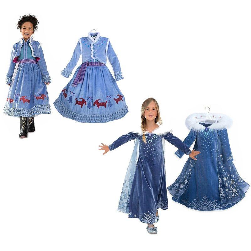 Winter Elsa Dresses for Girls Princess Dess Anna Elsa Cosplay Kids Costume  Snow Print Party Dress Vestidos Girls Clothing 0f00692079e3
