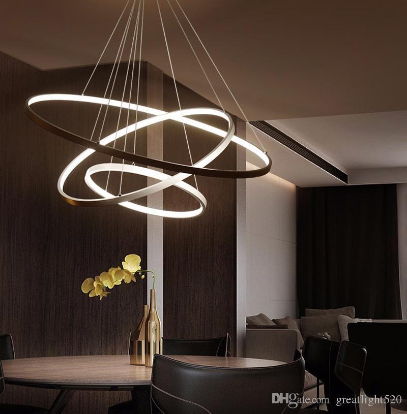 Modern Circular Ring Pendant Lights 3 2 1 Circle Rings Acrylic Aluminum Body Led Lighting Ceilin Lighting Ceiling Lamp Ceiling Lights Ceiling Lamps Living Room