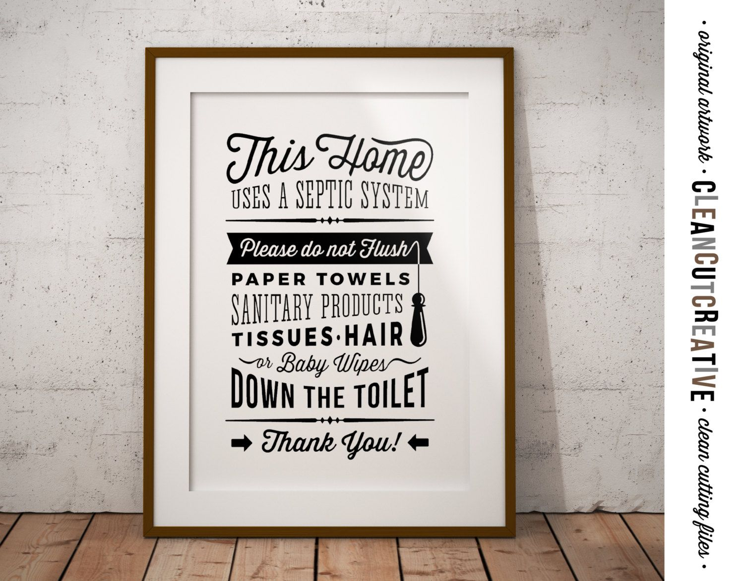 Bathroom sign septic system do not flush toilet sign for Vintage bathroom printables