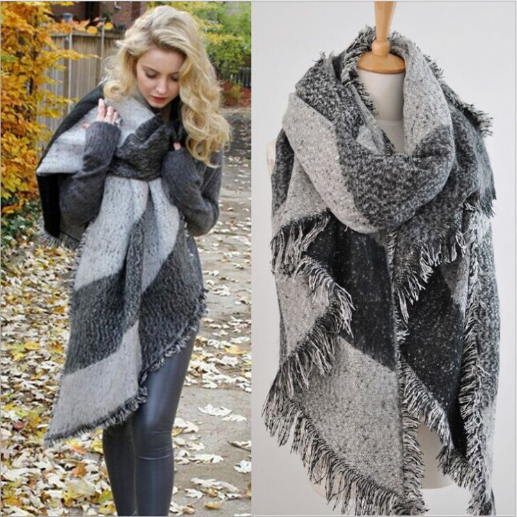 details zu xxl winter dick schal scarf poncho wrap cape. Black Bedroom Furniture Sets. Home Design Ideas