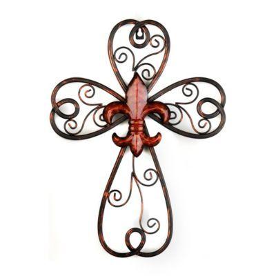 Red Scrollwork Fleur-de-lis Cross Plaque | Kirklands