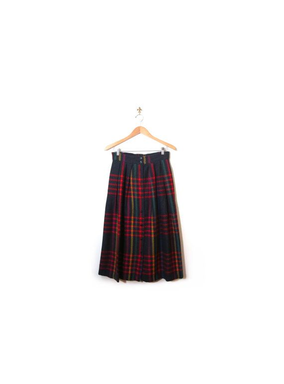 ea867b6577 Vintage 80s Preppy Button Up Plaid Wool Mid Calf Circle Skirt women s m l  rockabilly sock hop campus college secretary mcm indie retro indie by ...