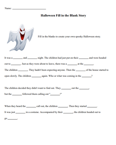 free halloween fill in the blank story worksheet looking for fun and educational halloween. Black Bedroom Furniture Sets. Home Design Ideas