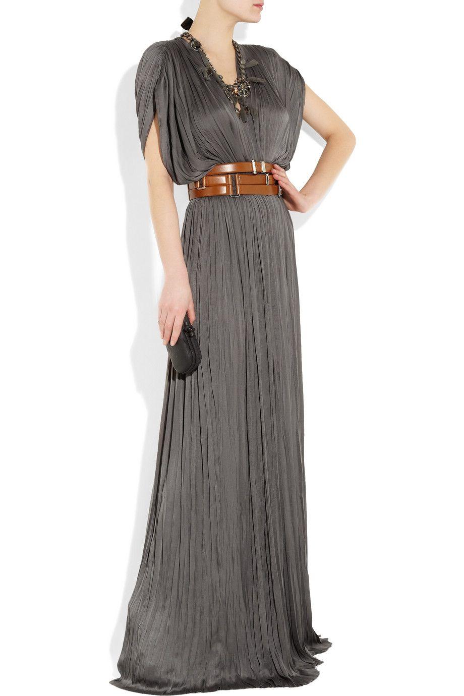 Lanvin maxi dress cinched with a michael kors belteek