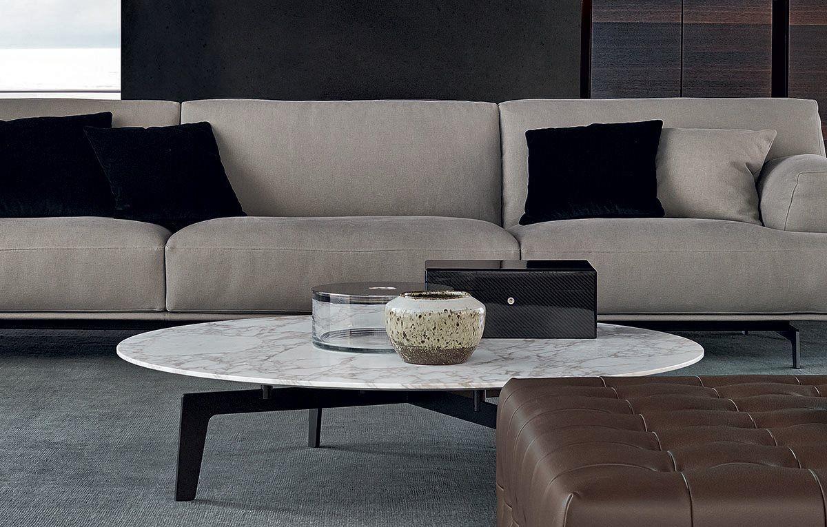 Poliform Tribeca round marble coffee table, Tribeca sofa by Jean-Marie Massaud.