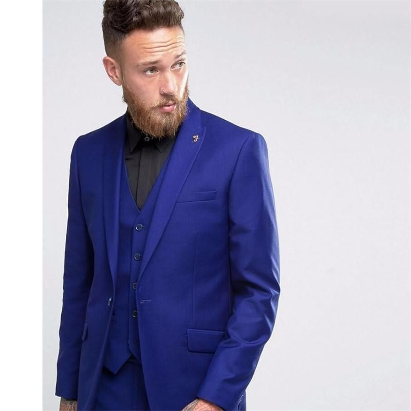 HB034 Custom Made One Button Men Suit Royal Blue Wedding Prom Suits ...