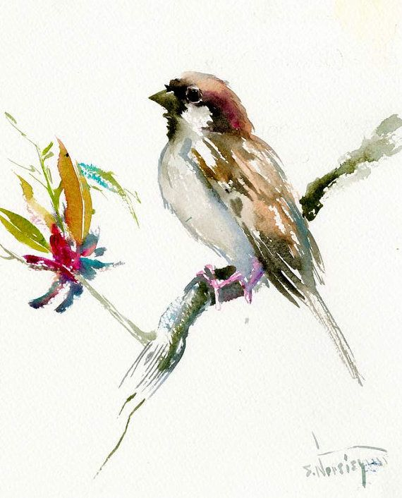 Black Flower Watercolor Art By Tae Lee: House Sparrow Male, Bird Painting, Original One Of A Kind