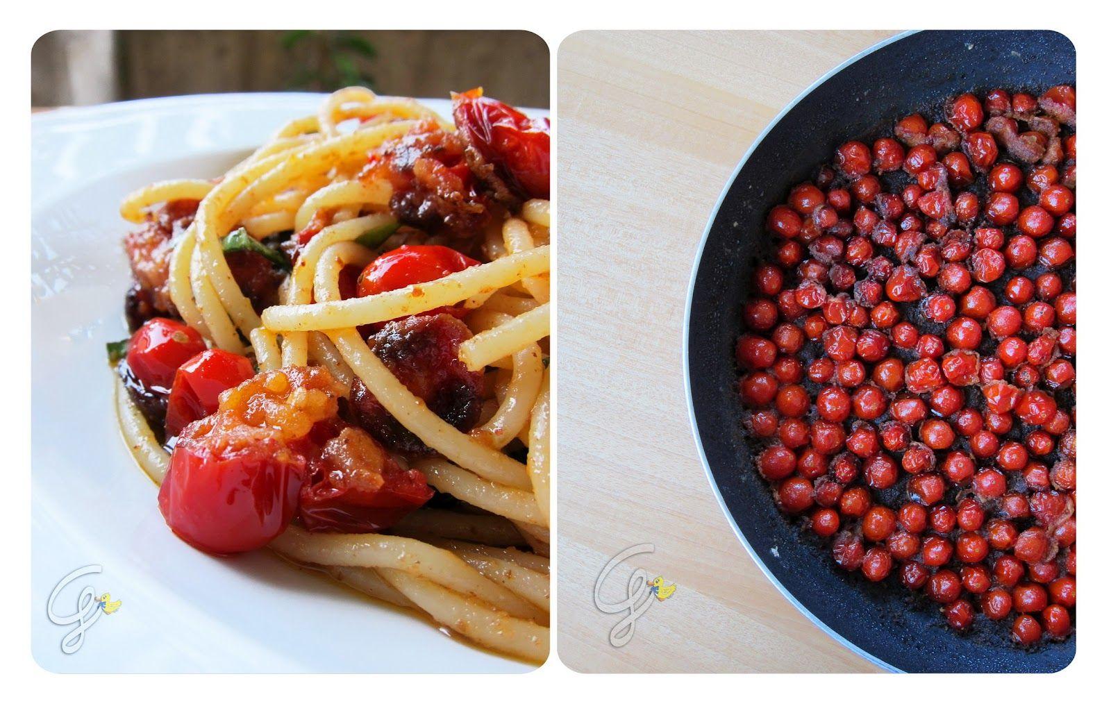 Spaghettoni con pomodorini fritti