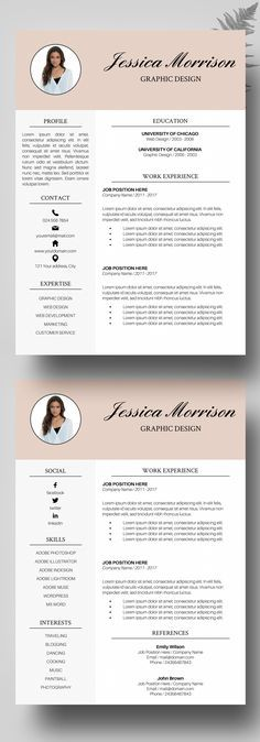Resume Template, CV Template for MS Word, Resume Modern - modern professional resume template