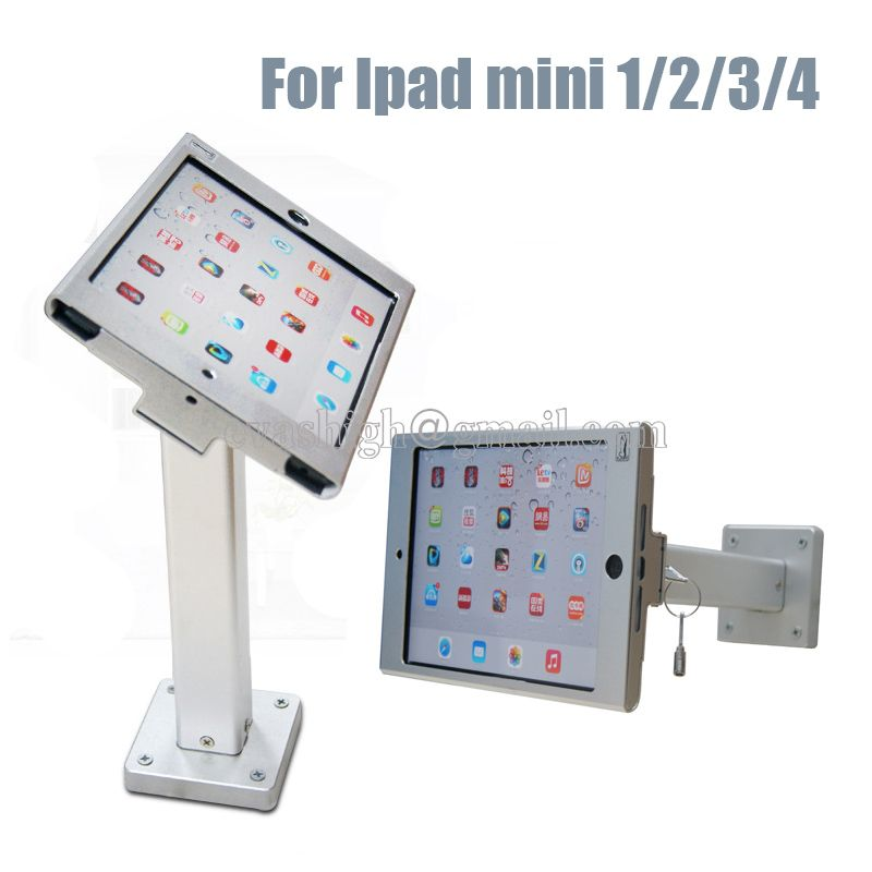 Metallic Security Wall Mounted Ipad Display Stand Secure Tablet Table Mount Enclosure Case Lock Anti Theft For Ipad Min Ipad Wall Mount Ipad Mini Display Stand