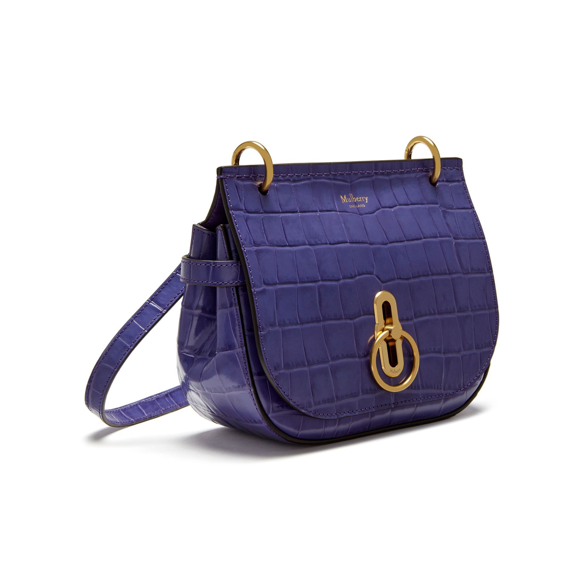 Shop the Small Amberley Satchel in Dark Amethyst Croc Print Leather at  Mulberry.com. 2ae1fd5022